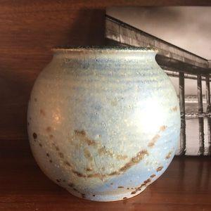 Vintage Handmade 70s Mottled Glazed Pottery Vase